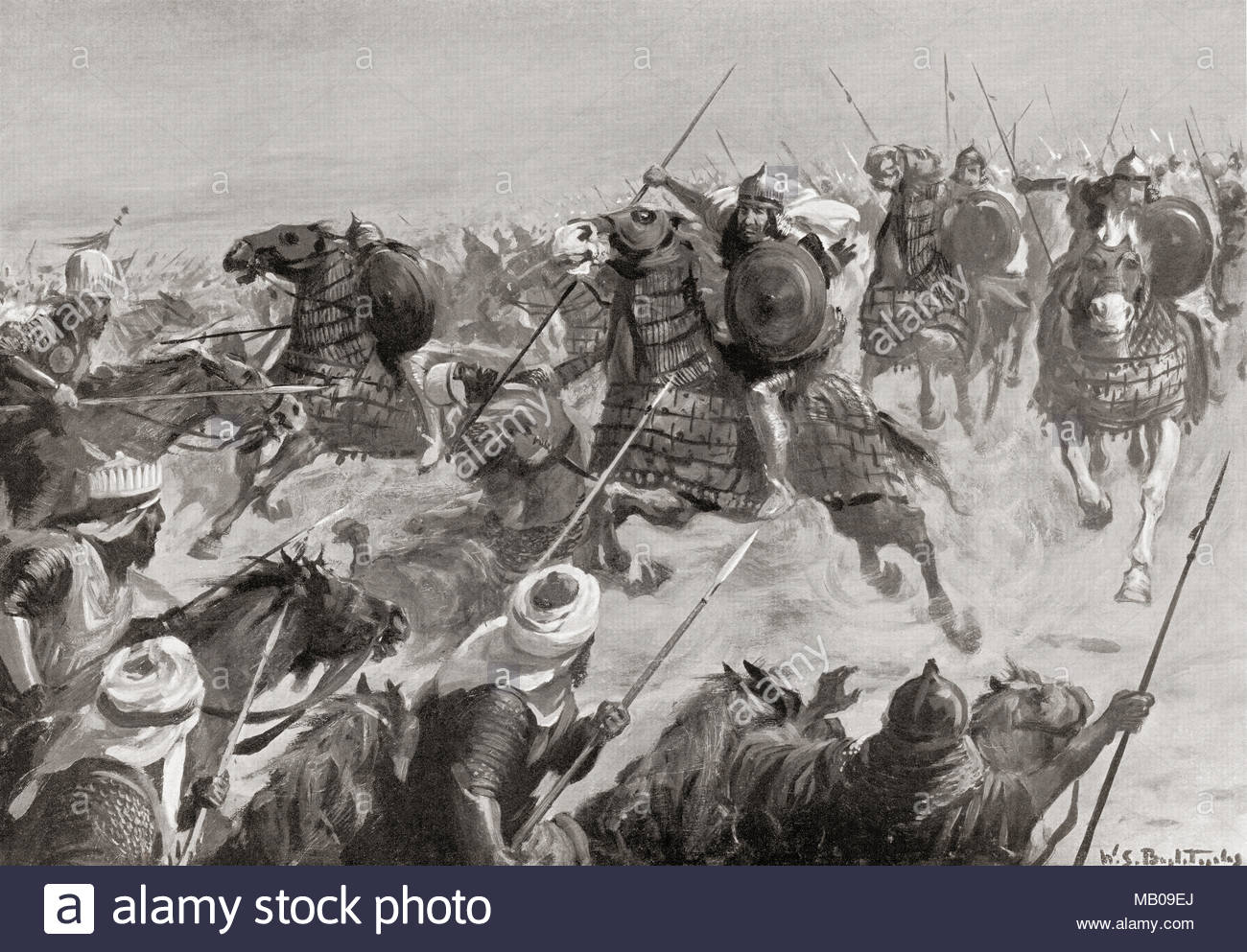 Tamerlane invading Persia in the late 14th century.  Timur, aka Temūr, Amir Timur and Tamerlane, 1336 – 1405.  Turco-Mongol conqueror and as founder of the Timurid Empire in Persia and Central Asia, first ruler in the Timurid dynasty.  After the painting by W.S. Bagdatopoulus, (1888-1965).  From Hutchinson's History of the Nations, published 1915 - Stock Image