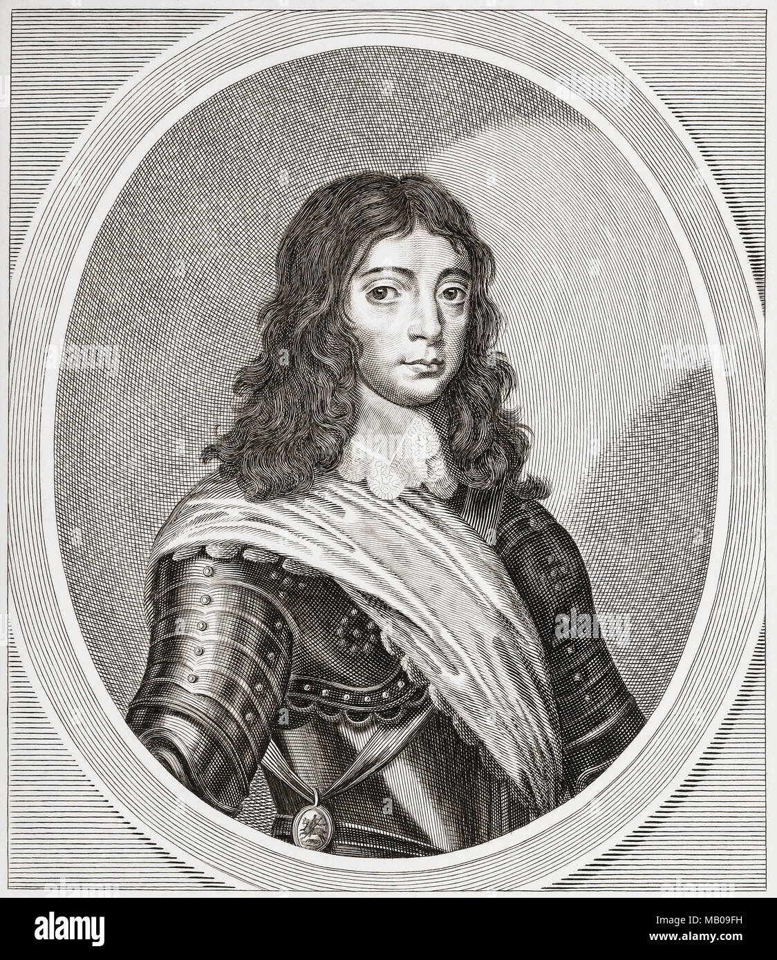 The future King Charles II of England when Prince of Wales, 1630 - 1685.  From Woodburn's Gallery of RarePortraits,  published1816. - Stock Image