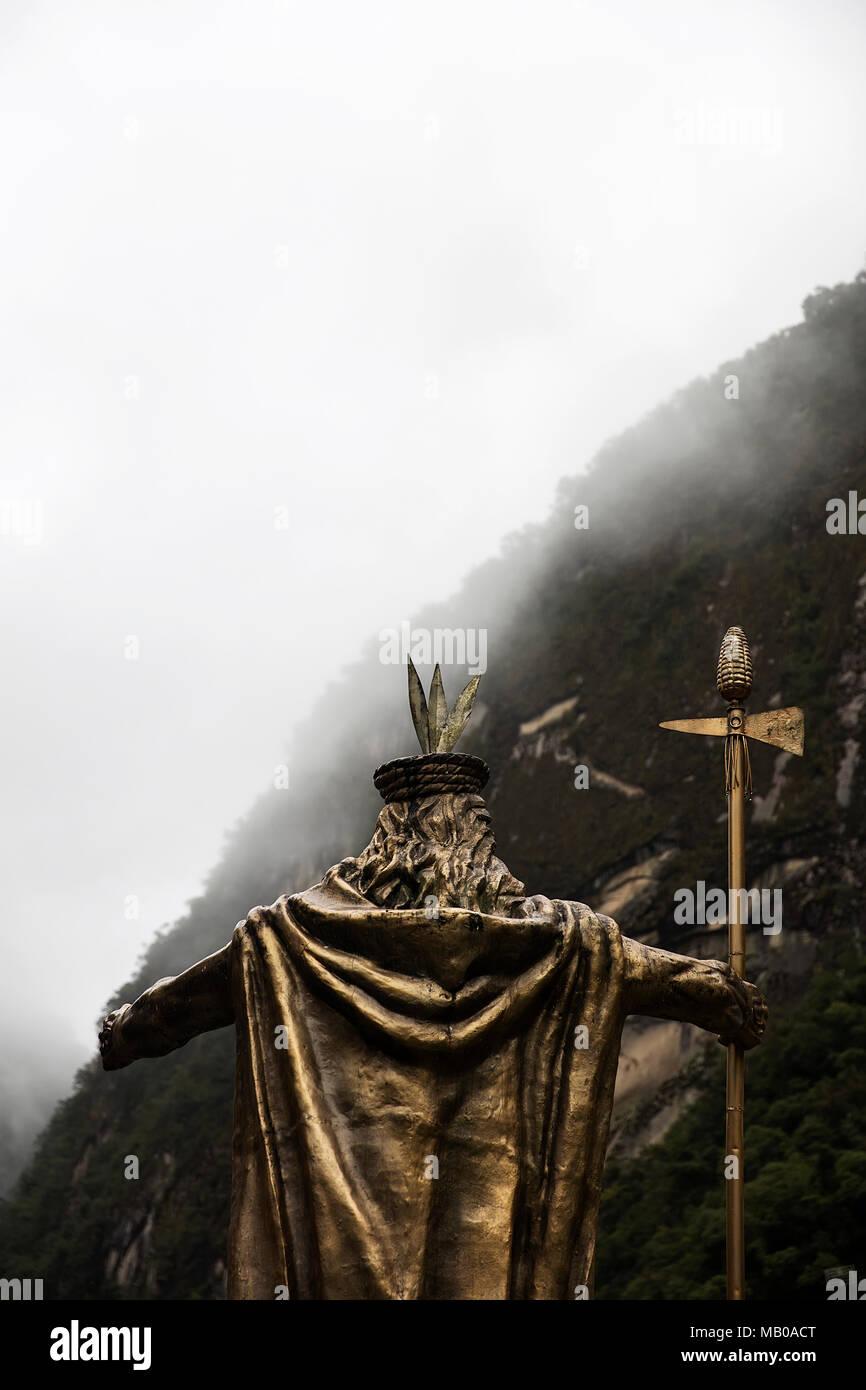 AGUAS CALIENTES, PERU - JANUARY 3, 2018: Statue of Pachacuti in Aguas Calientes, Peru. Pachacuti was the 9th Sapa Inca of the Kingdom of Cusco. - Stock Image