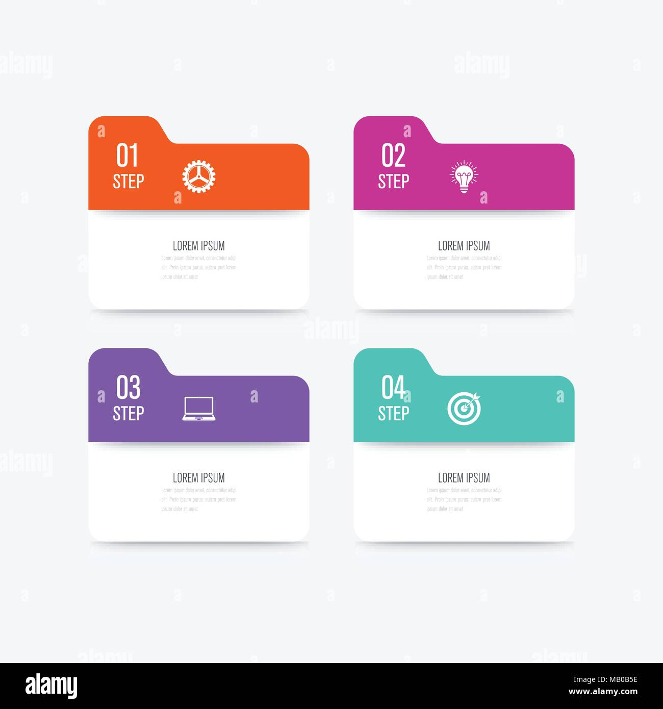 Business Infographics Template 4 Steps Square Data And Information