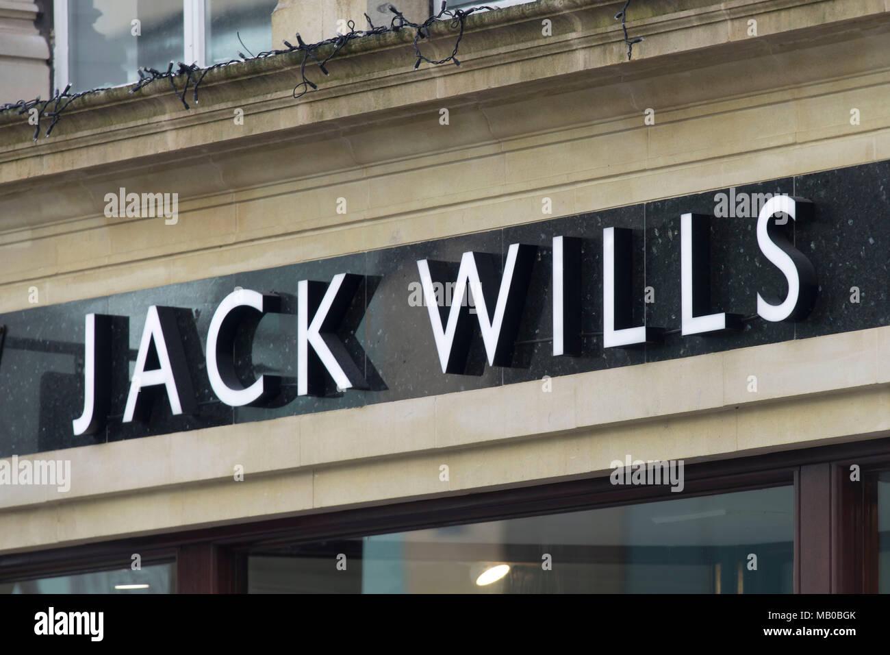 Jack Wills clothing store shop sign logo. - Stock Image
