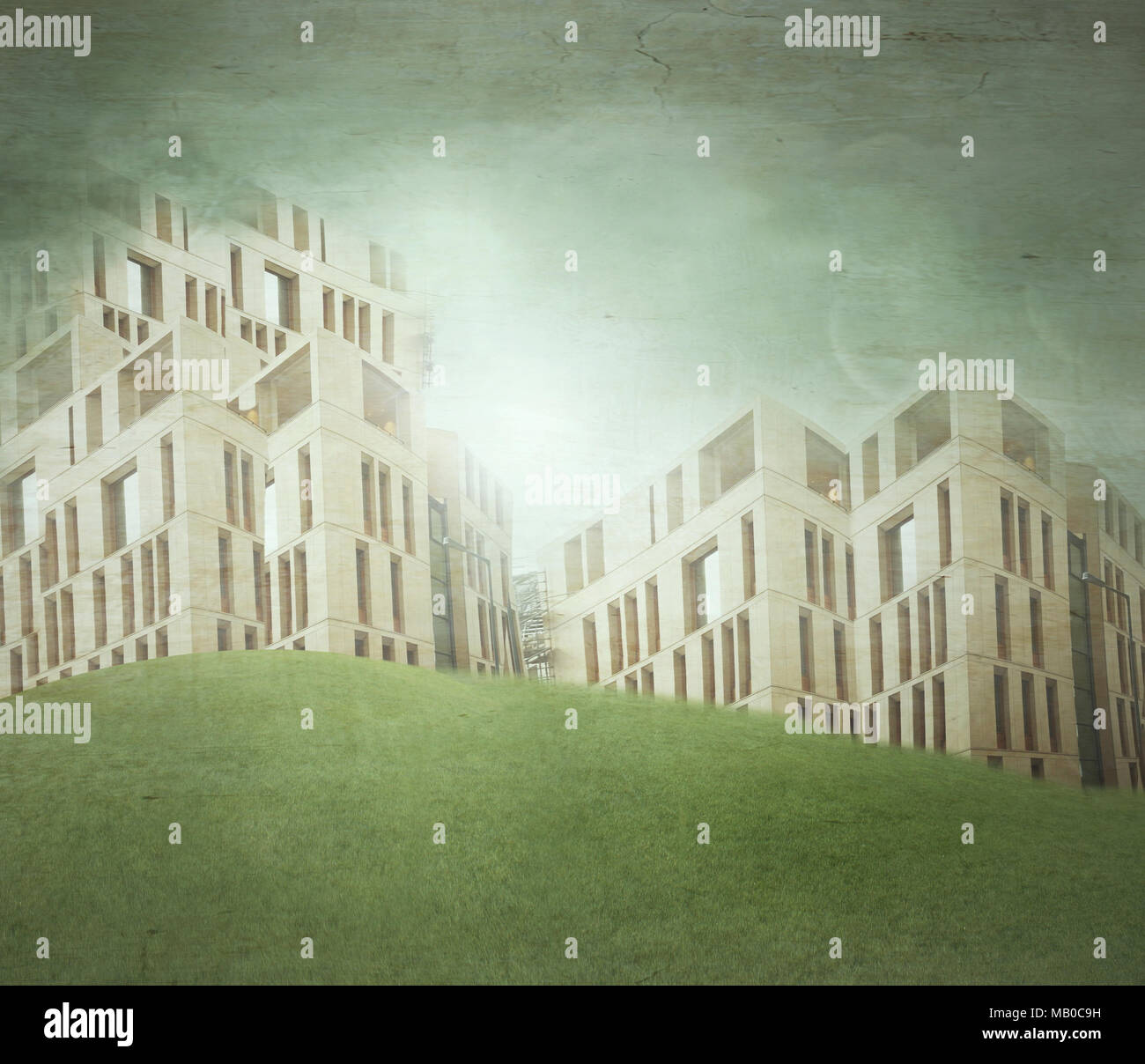 Illustration of a several modern buildings in a surreal landscape - Stock Image