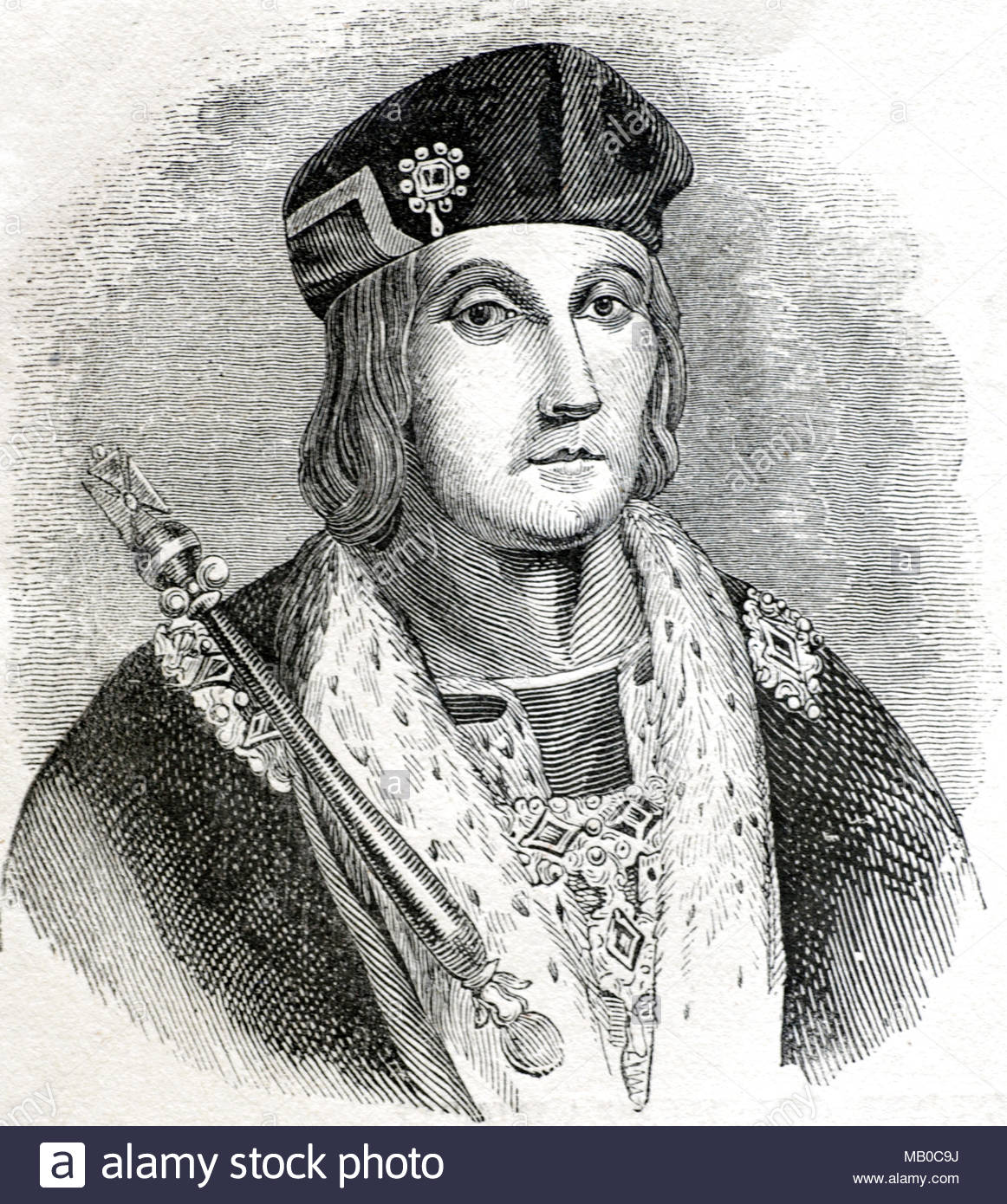 King Henry VII, 1457 – 1509, was King of England and Lord of Ireland from 1485 until his death in 1509, first monarch of the House of Tudor, antique illustration from circa 1860 - Stock Image