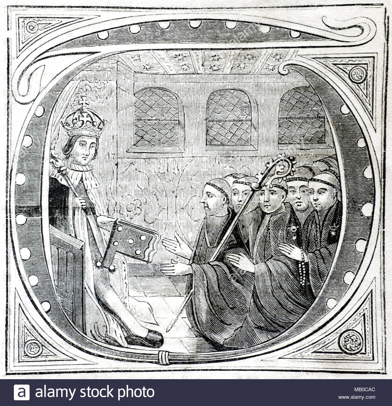 King Henry VII delivering to John Islip, Abbot of Westminster, the book of Indenture in 1498, antique illustration from circa 1860 - Stock Image