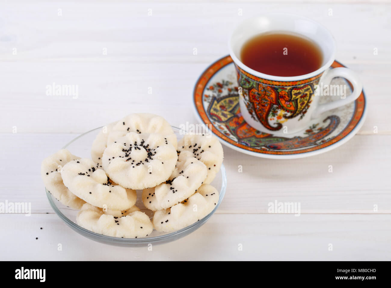 Flower Shaped Persian Sweet Rice Cookies Naan Berenji With Poppy