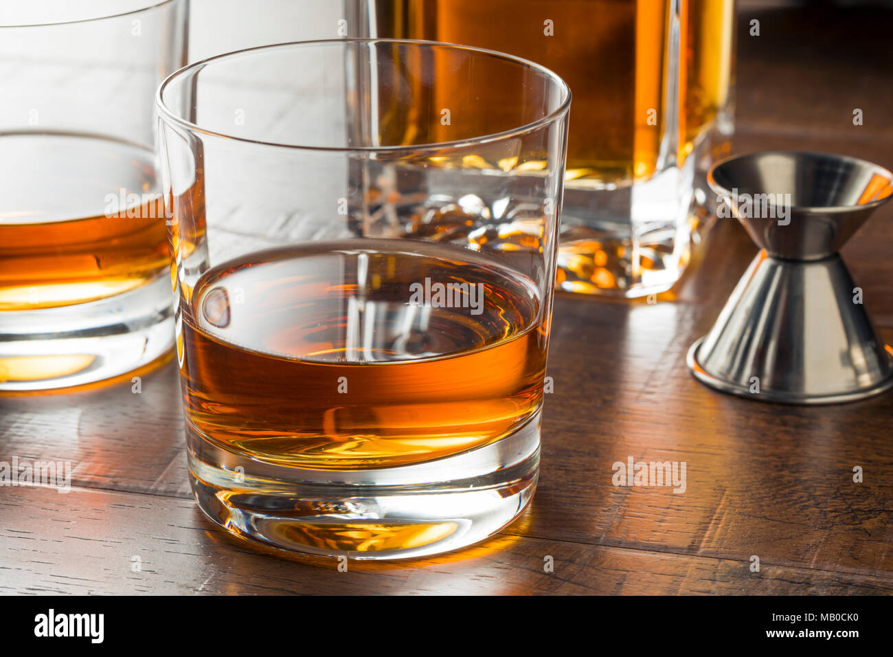 Delicious Bourbon Whiskey Neat in a Glass - Stock Image