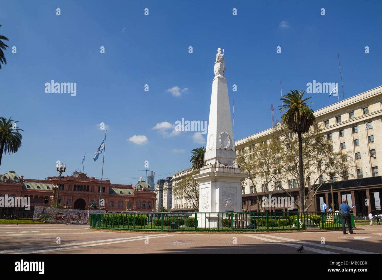 BUENOS AIRES, ARGENTINA - SEPTEMBER 12:The Plaza de Mayo (English: May Square) is the main square in Buenos Aires. In background, the Casa Rosada (Pin - Stock Image