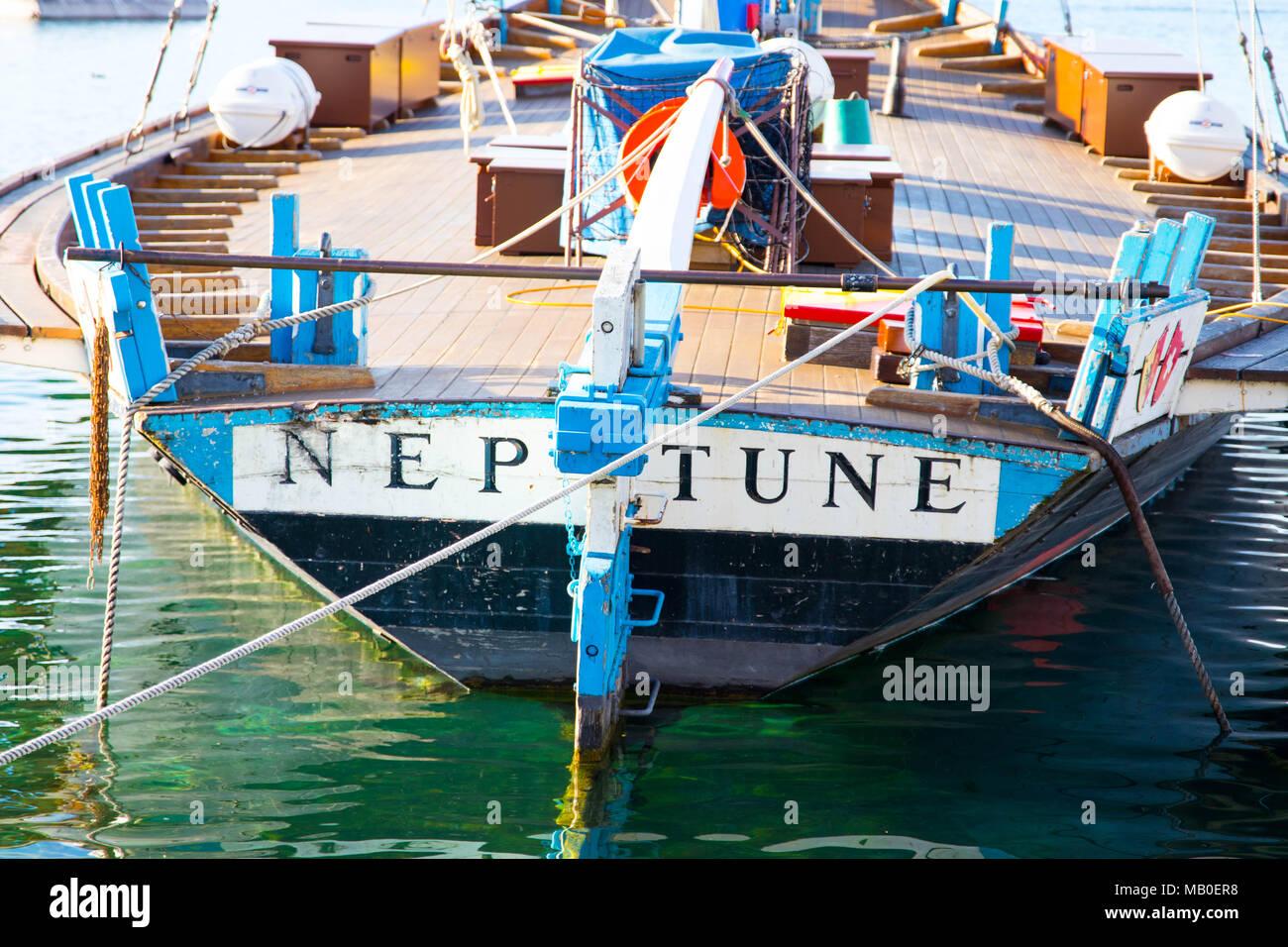 Famous old vintage Boat Neptune on the lake leman geneva switzerland - Stock Image