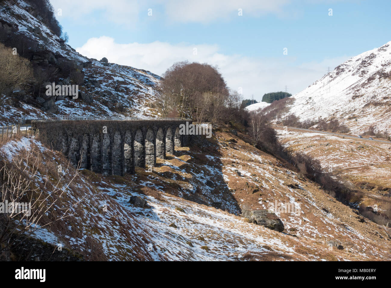Glen Ogle Viaduct on the Rob Roy Way and National Cycle route 7, Lochearnhead, Scotland, UK - Stock Image