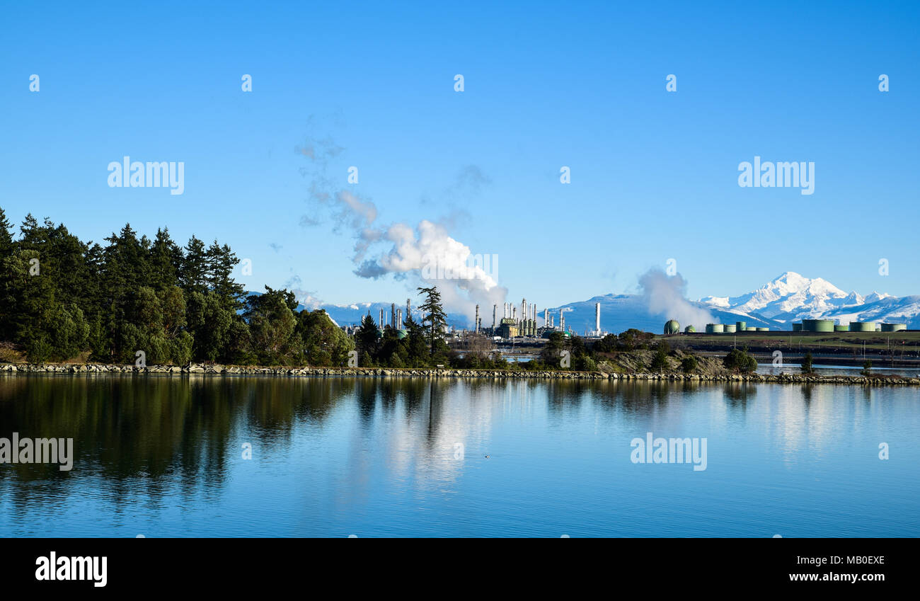 Reflections of Steam and Snow - A brilliant blue sky covers the deep blue of Fidalgo Bay Aquatic Reserve, placid on a December day. - Stock Image