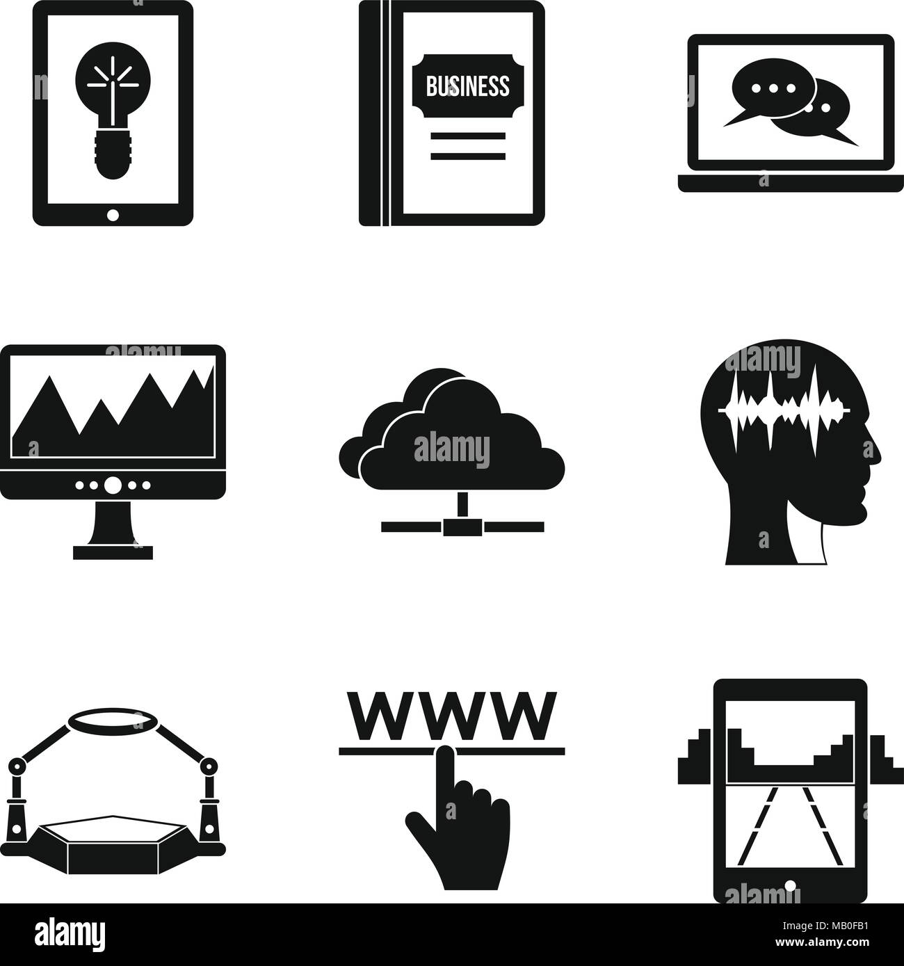 Arcade icons set, simple style - Stock Vector