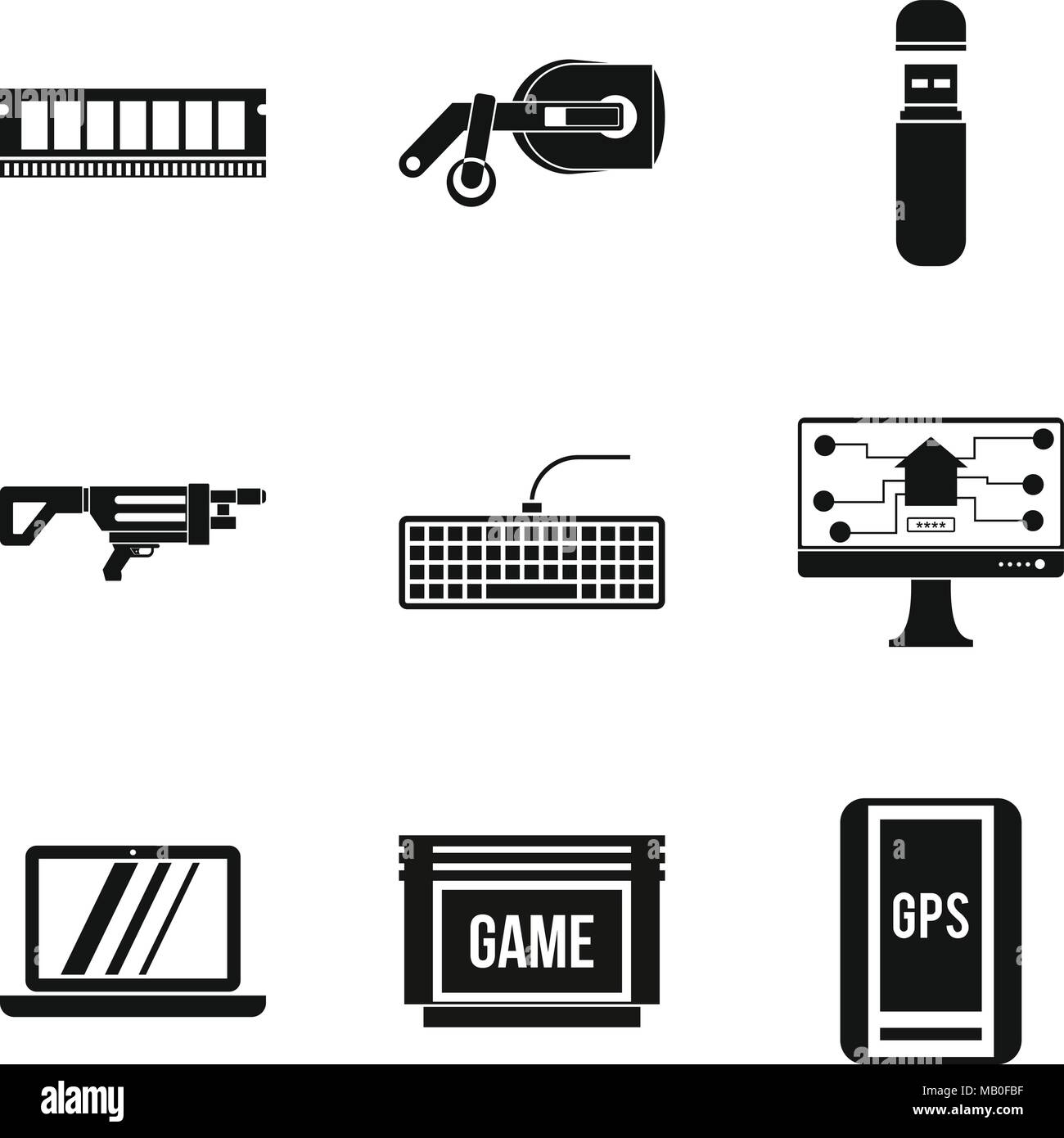 Game hall icons set, simple style - Stock Vector