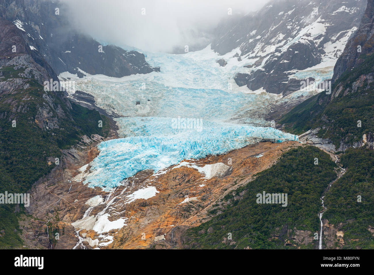 Close up of the Balmaceda glacier landscape near the Torres del Paine national park in Patagonia, Chile, South America. - Stock Image