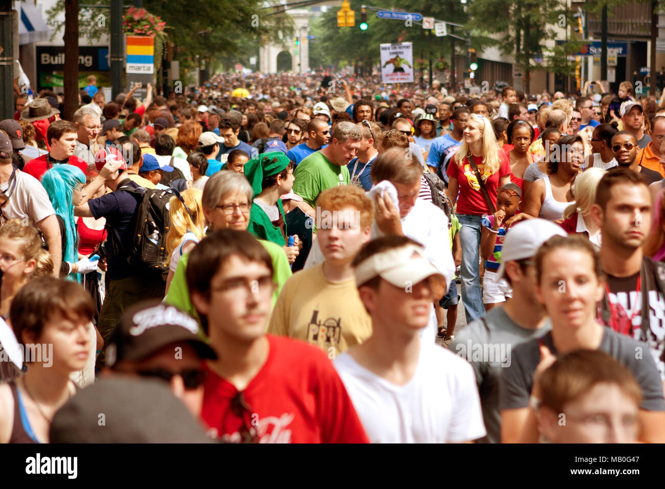 Atlanta, GA, USA - August 31, 2013:  Thousands of spectators fill Peachtree Street following the annual Dragon Con parade. - Stock Image