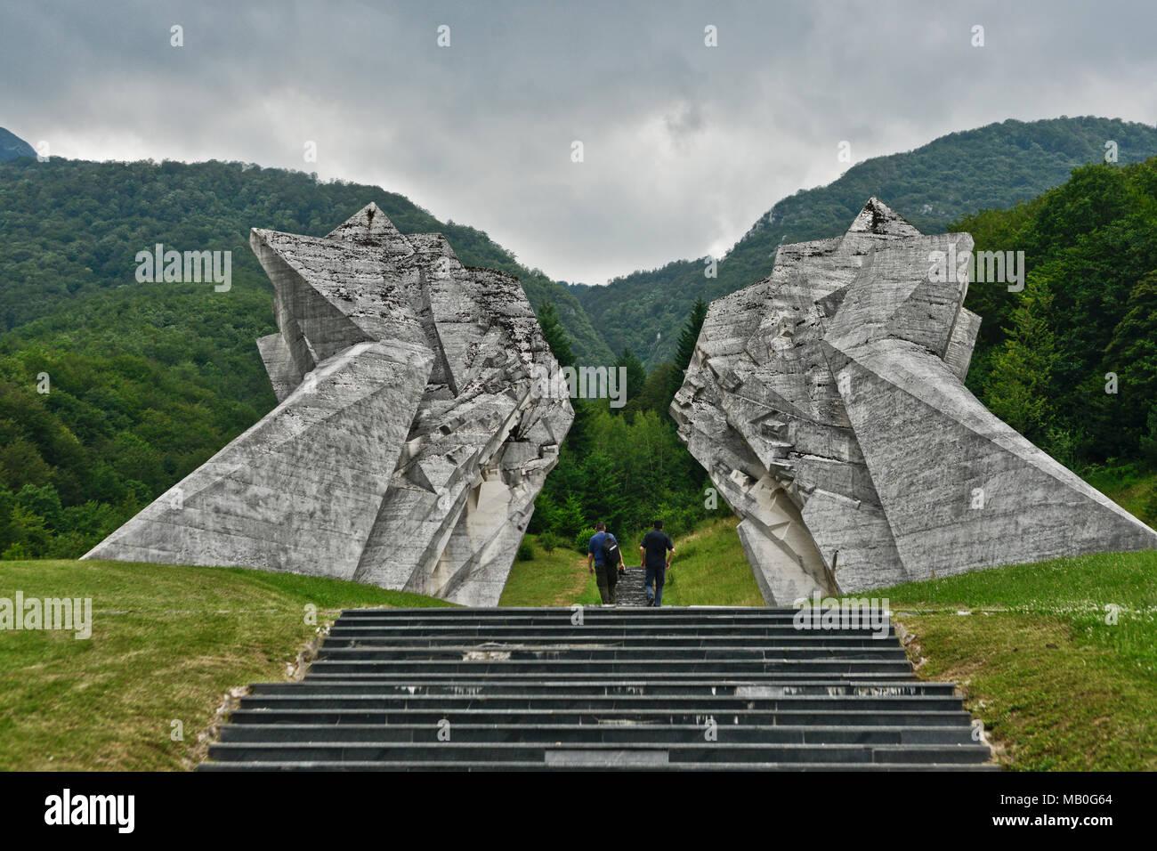 Tjentiste War Memorial, Sutjeska National Park, Bosnia and Herzegovina - Stock Image
