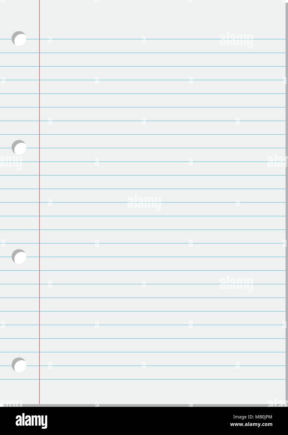 blank lined white paper sheet from notebook background with blue