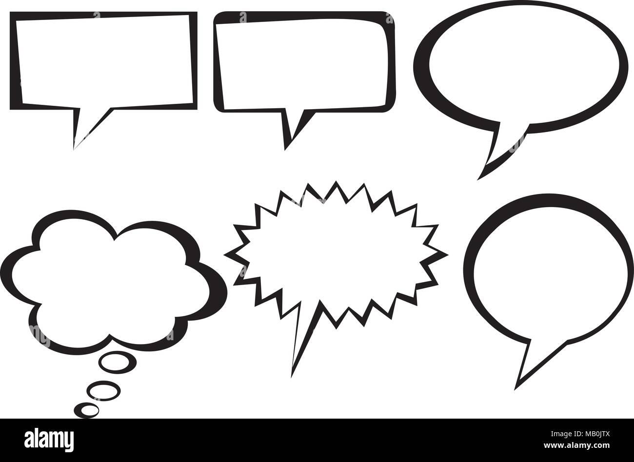 Speech bubbles and sales sticker collection isolated in clean line Stock Vector