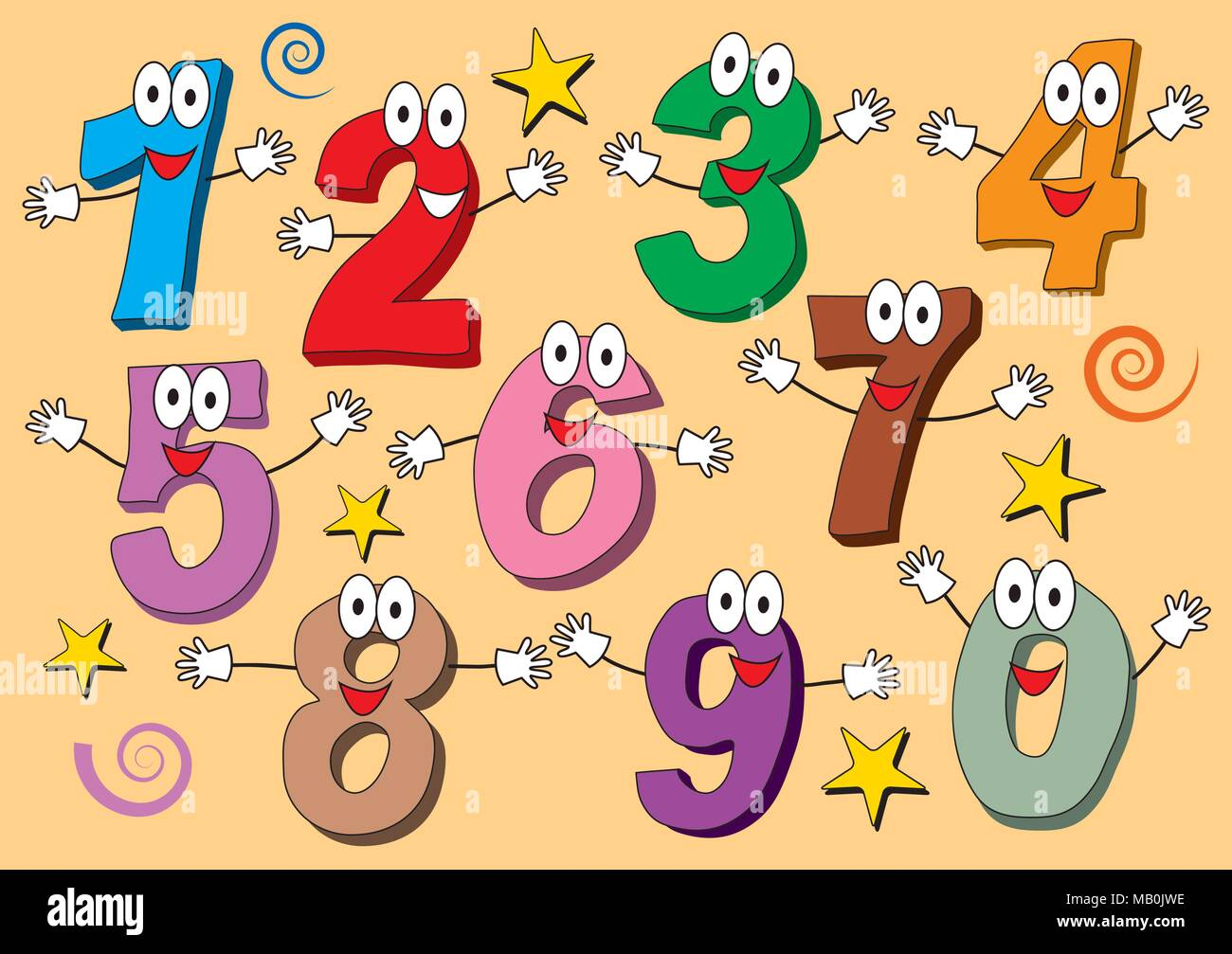 Cartoon numbers 0 to 9 icons made as human figures with big eyes and hands. Hand drawn isolated set illustrations for children - Stock Image