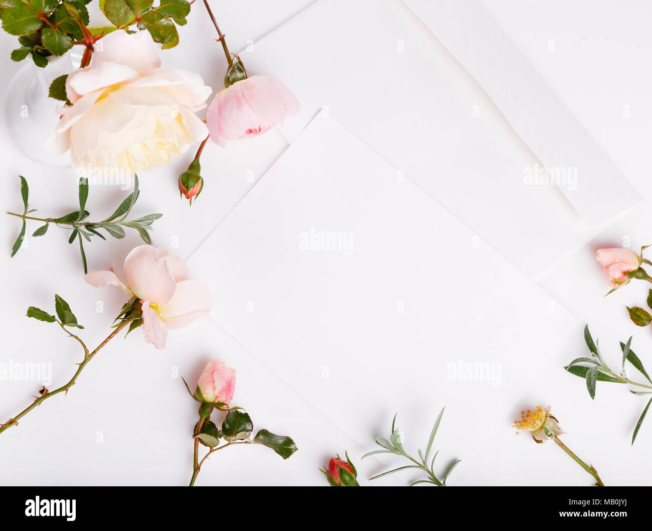 Letter White Envelope On White Background With Pink English