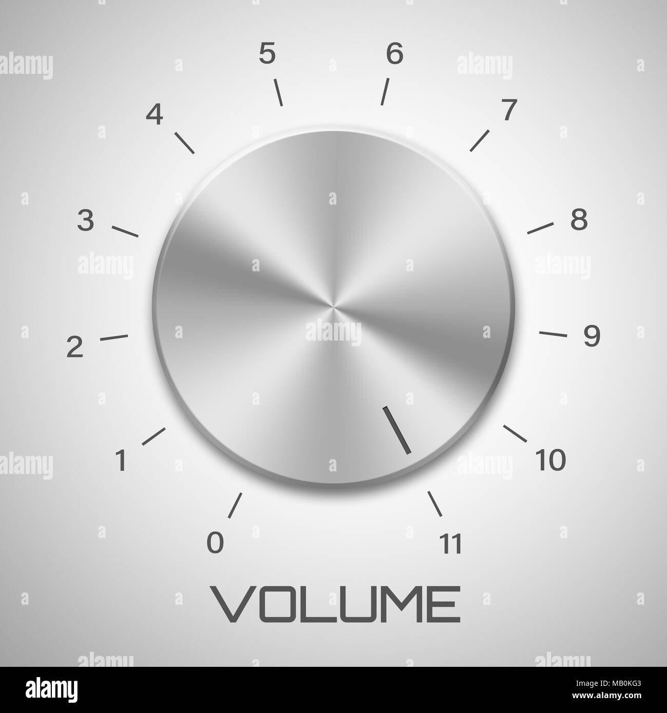 Metal volume control knob that goes to eleven - Stock Image