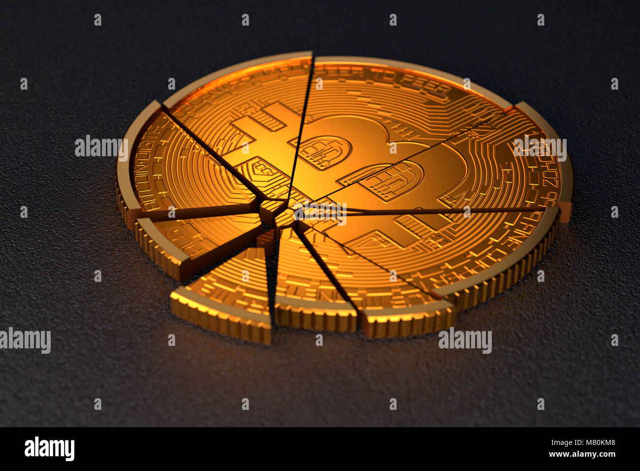 Broken bitcoin on dark background. Concept illustrates bitcoin crash, bitcoin bubble burst, or cryptocurrency market collapse - Stock Image