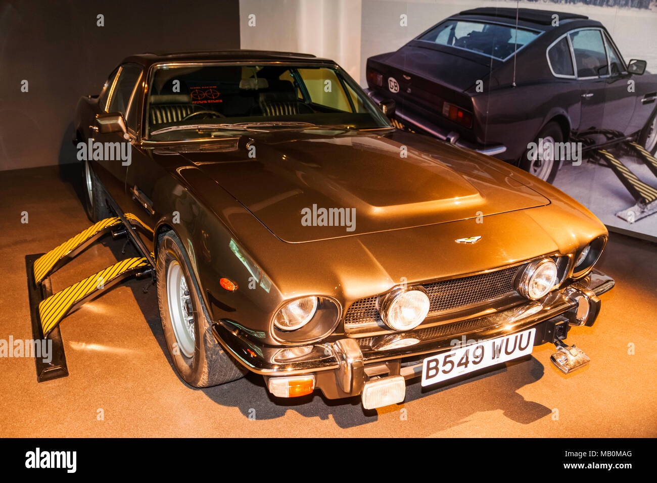 England, London, Covent Garden, London Film Museum, Aston Martin V8 Car from The James Bond Movie The Living Daylights dated 1987 - Stock Image
