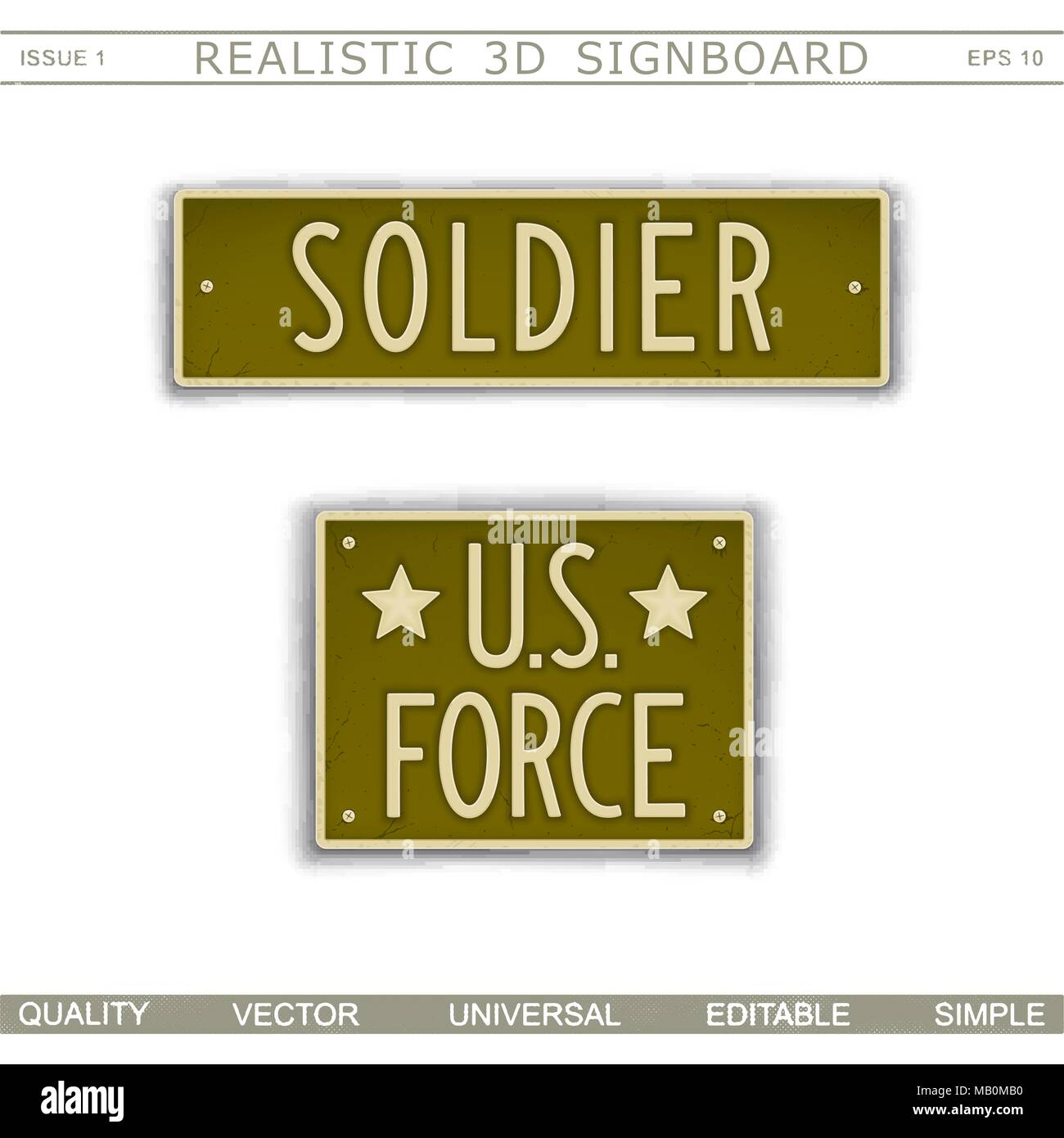 Military signboard. Soldier. U.S. Force. Car license plate stylized. Lettering with the effect stamping.  Vector design elements - Stock Vector