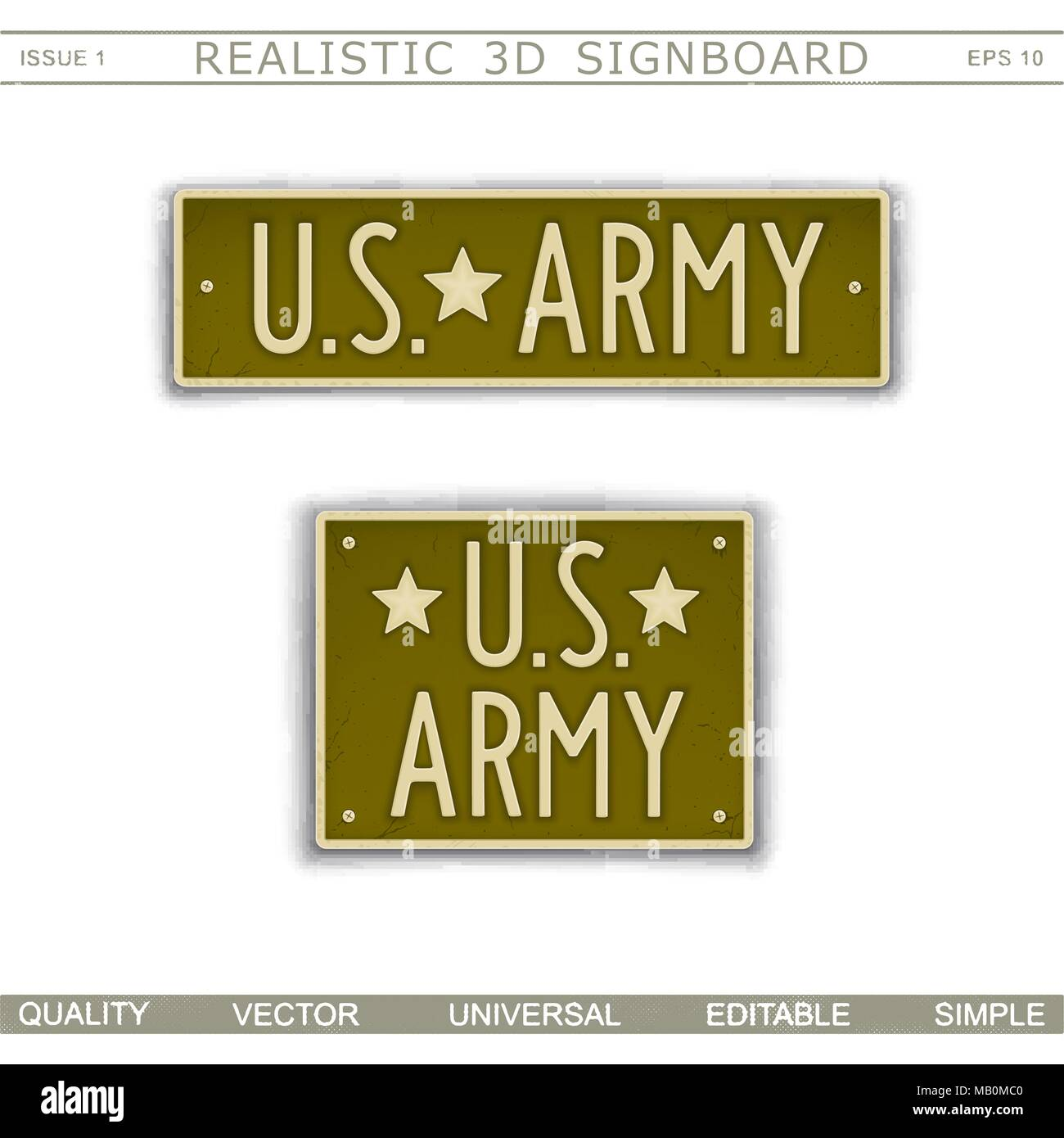 Military signboard. U.S. Army. Car license plate stylized. Lettering with the effect stamping. Vector design elements - Stock Vector