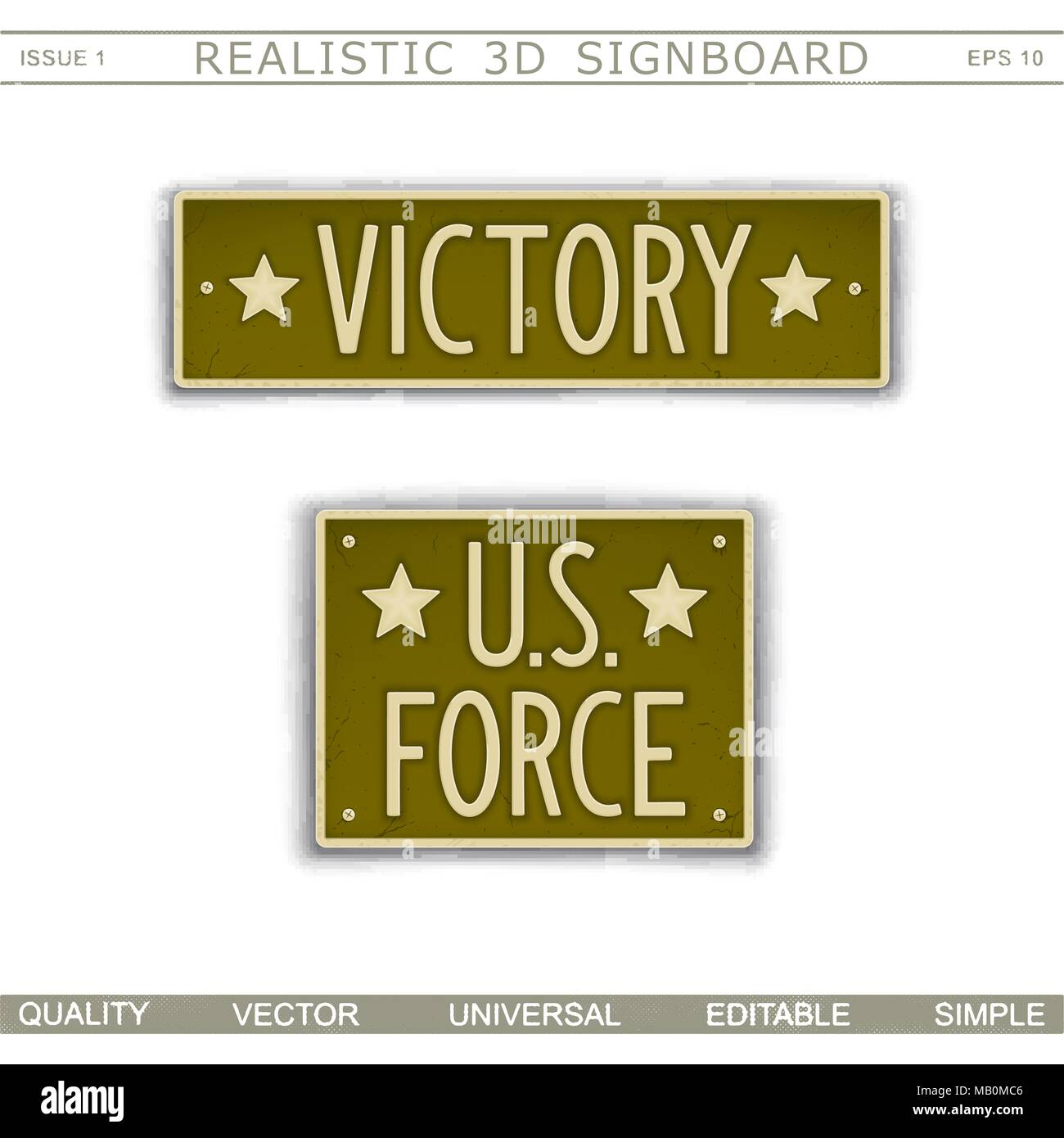 Military signboard. Victory. U.S. Force. Car license plate stylized. Lettering with the effect stamping.  Vector design elements - Stock Vector