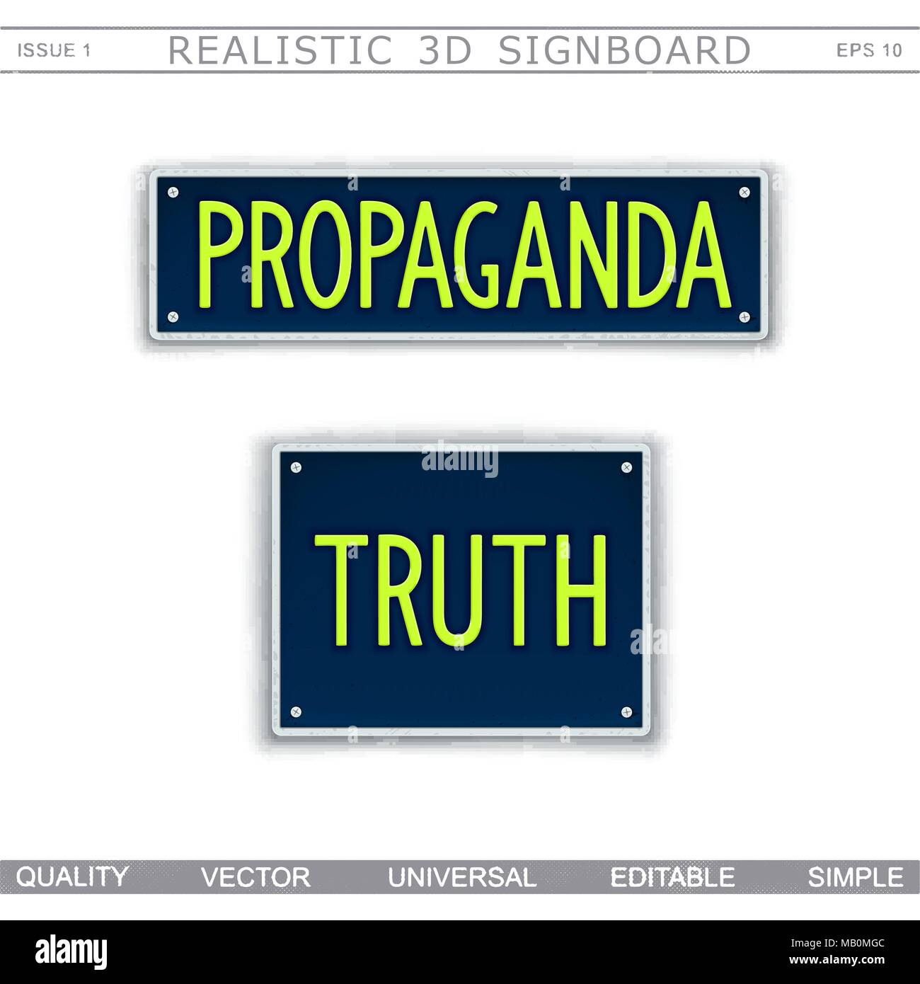 Conceptual signboard design. Information war. Propaganda and Truth. Car license plate stylized. Vector elements - Stock Vector