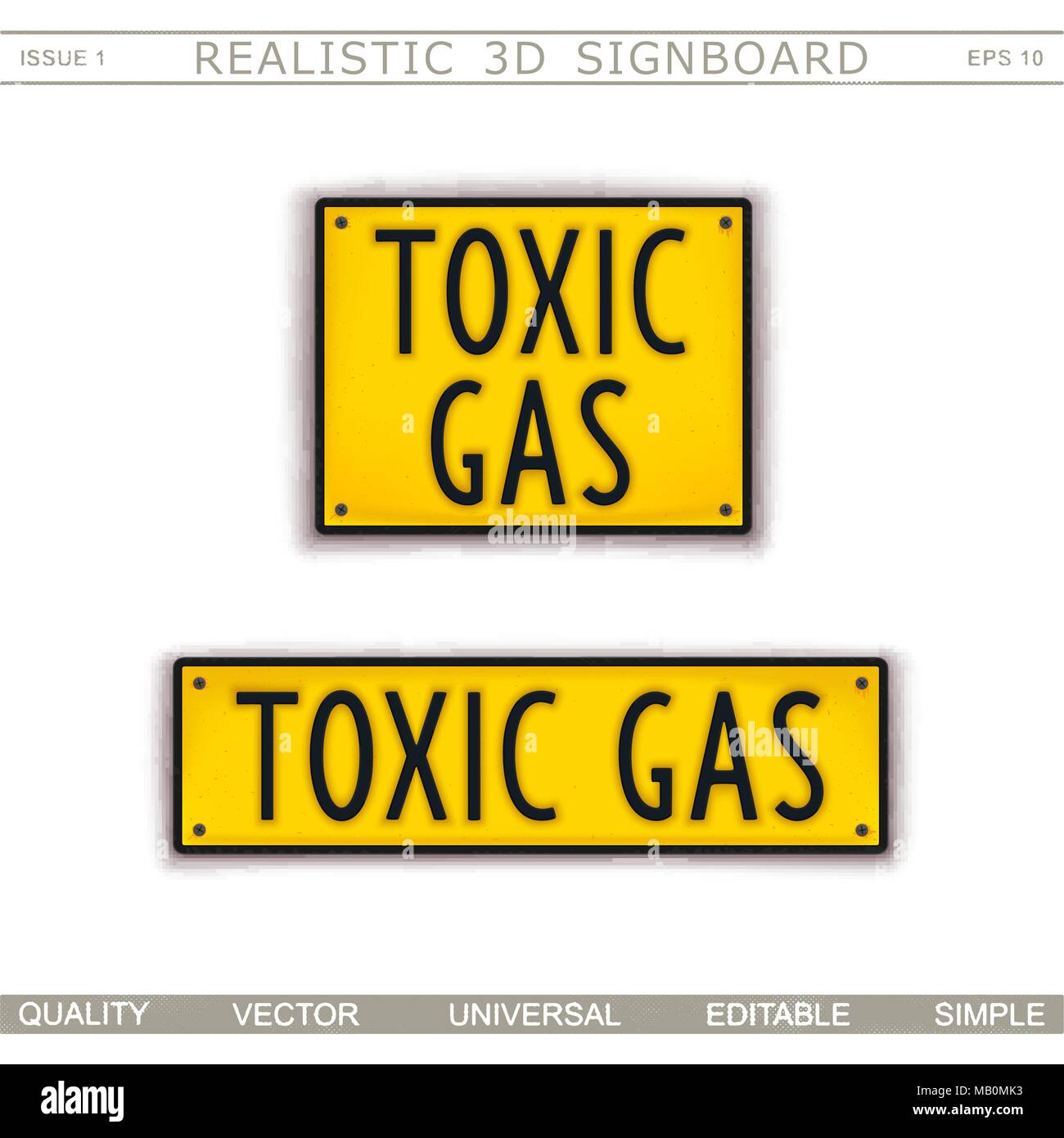Toxic Gas. Warning signs. 3D signboard. Top view. Vector design elements - Stock Image