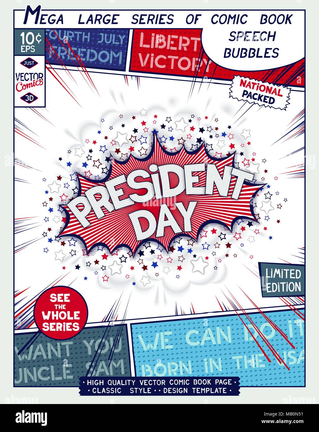 President Day. Federal holiday in USA. Poster design in style of comics book.  Speech bubble with speed lines and 3D explosion. Vector illustration - Stock Vector