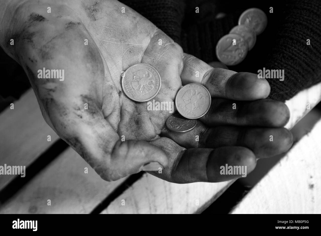 The dirty hands of a tramp. - Stock Image