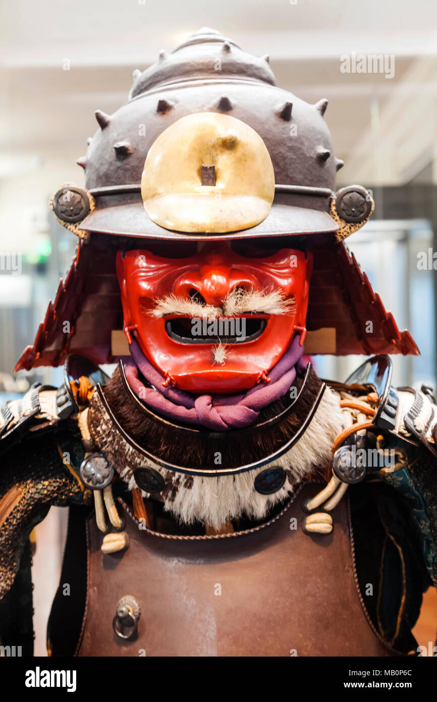 Japan, Hoshu, Tokyo, Ueno Park, Tokyo National Museum, Honkan Hall, Display of Gusoku Type Armour dated 17th century - Stock Image