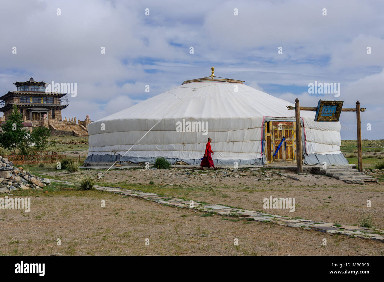 Buddhist complex in the Gobi Desert, Mongolia - Stock Image