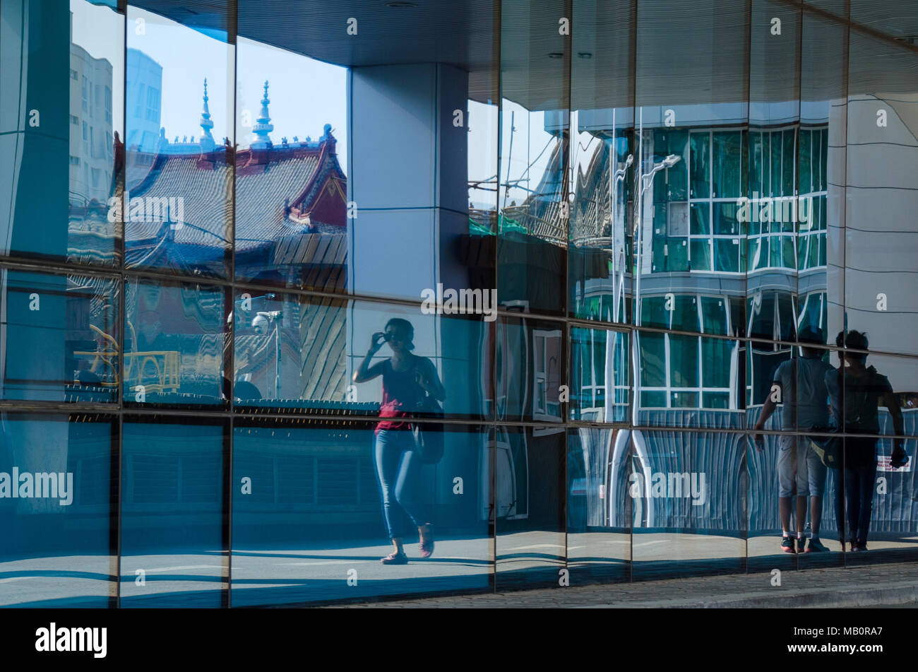 Reflections at the Blue Sky Tower in Ulaanbaatar, Mongolia Stock Photo