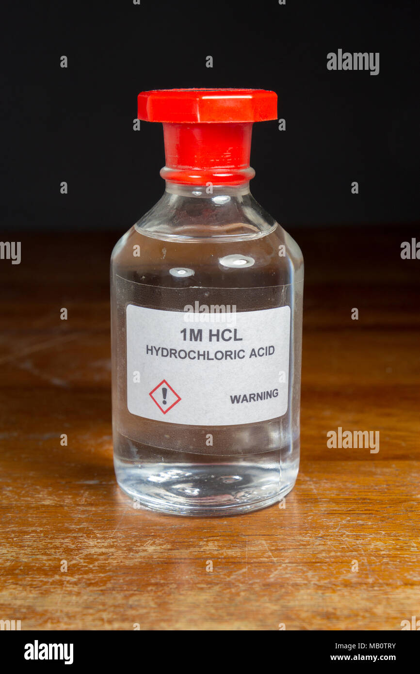 A bottle of 1 Molar (1M) Hydrochloric acid (HCl) as used in
