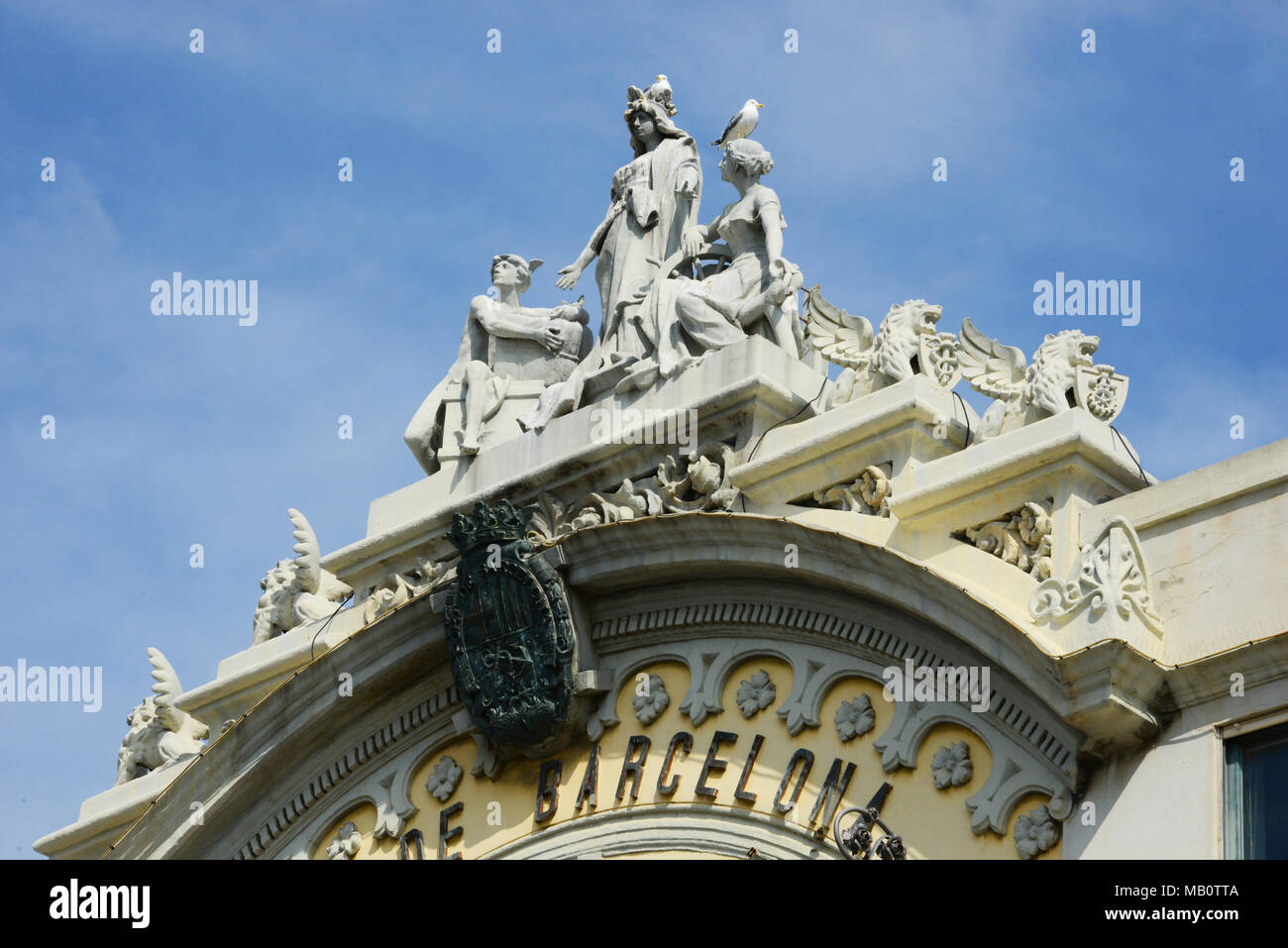 Detail of the Port of Barcelona building, Catalonia, Spain - Stock Image