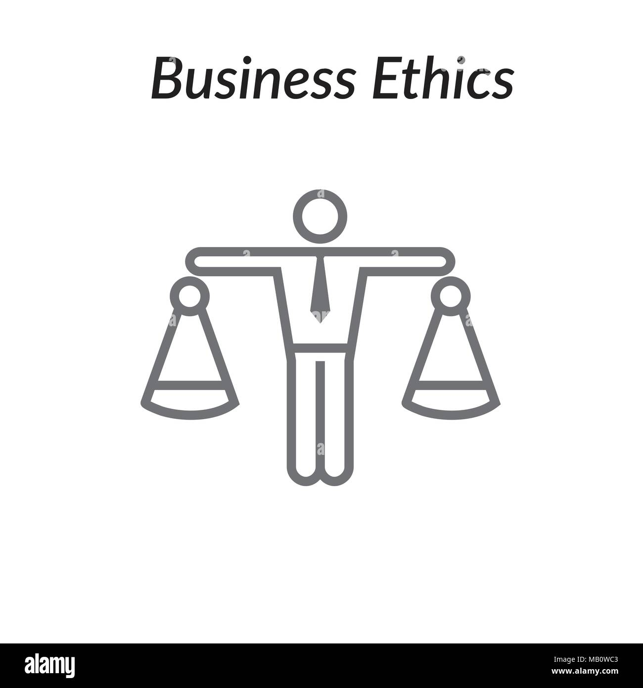 Business Ethics Solid Icon with Man and Scales of Justice - Stock Image