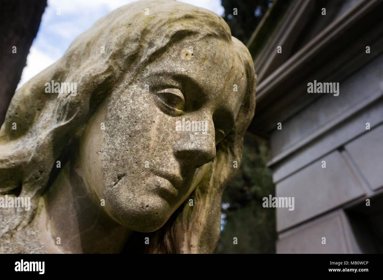 Mute desperation - Protestant Cemetery - Rome - Stock Image