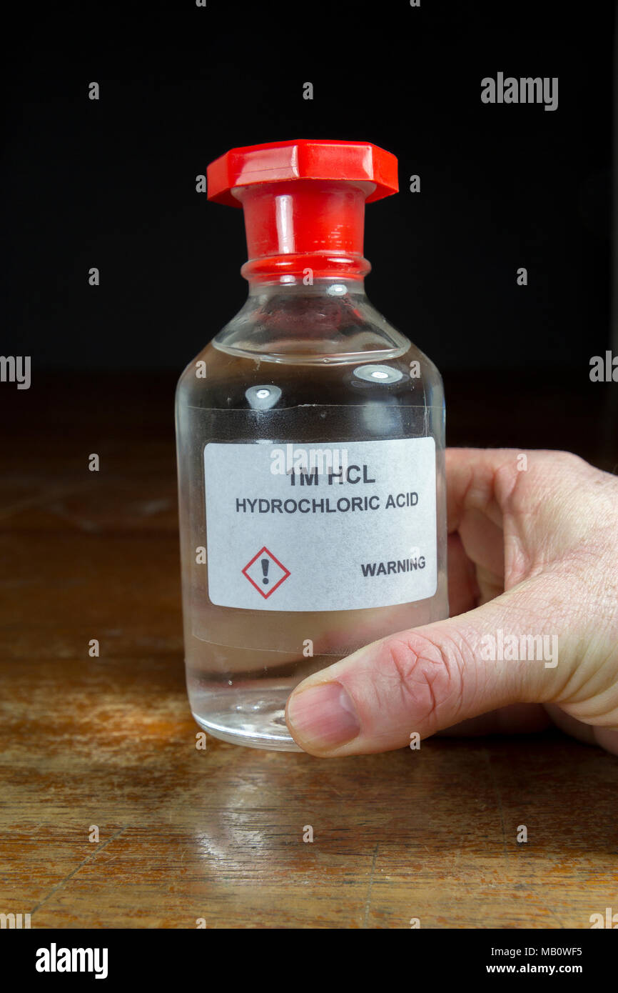 A Bottle Of 1m One Molar Hydrochloric Acid  Hcl  As Used