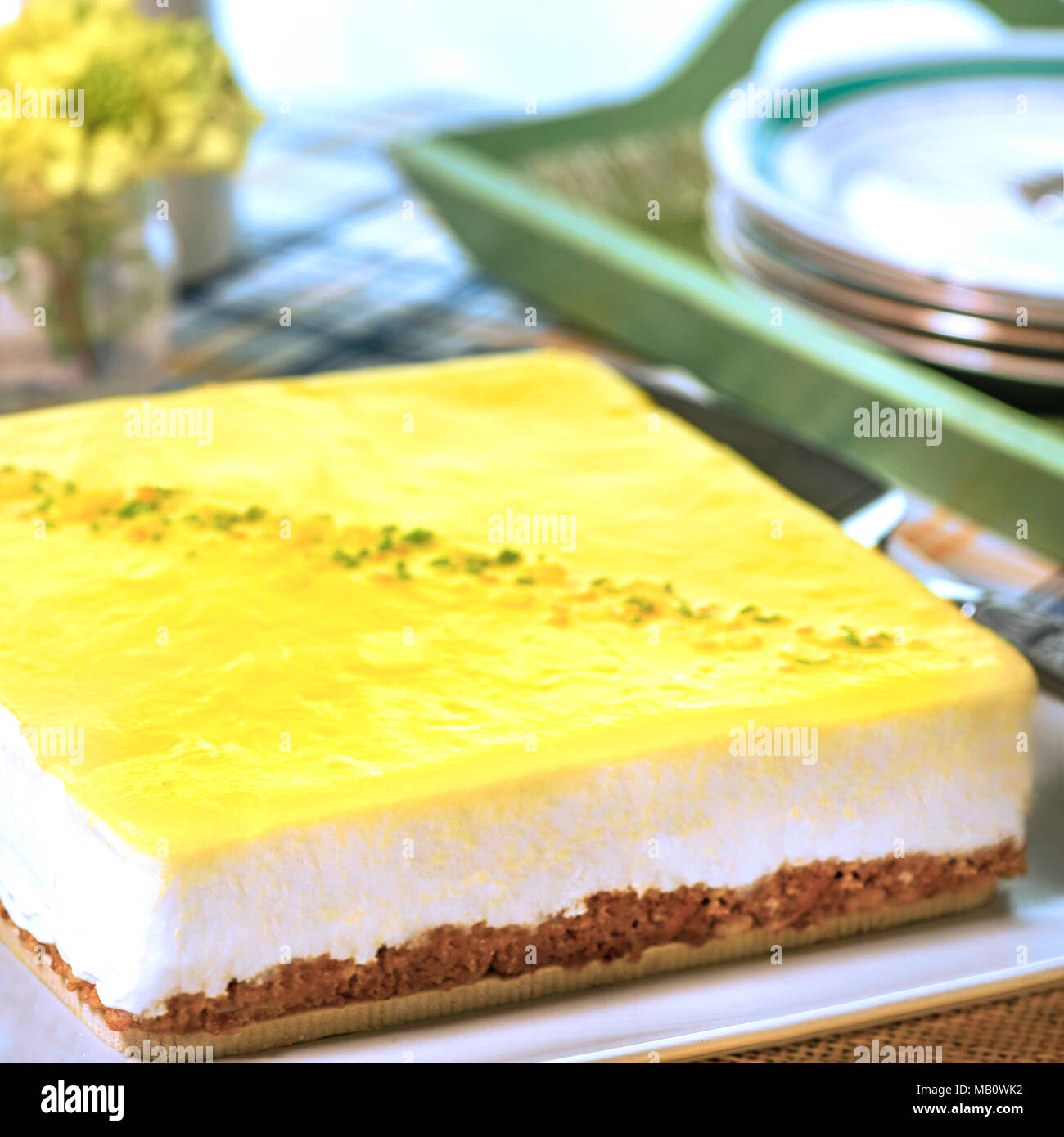 uncut whole lemon cheesecake in a summer setting ready for a picnic in a square format with copy space - Stock Image