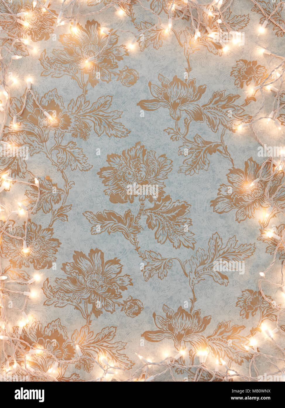 Vintage Gold Floral Wallpaper Background With Holiday White Lights