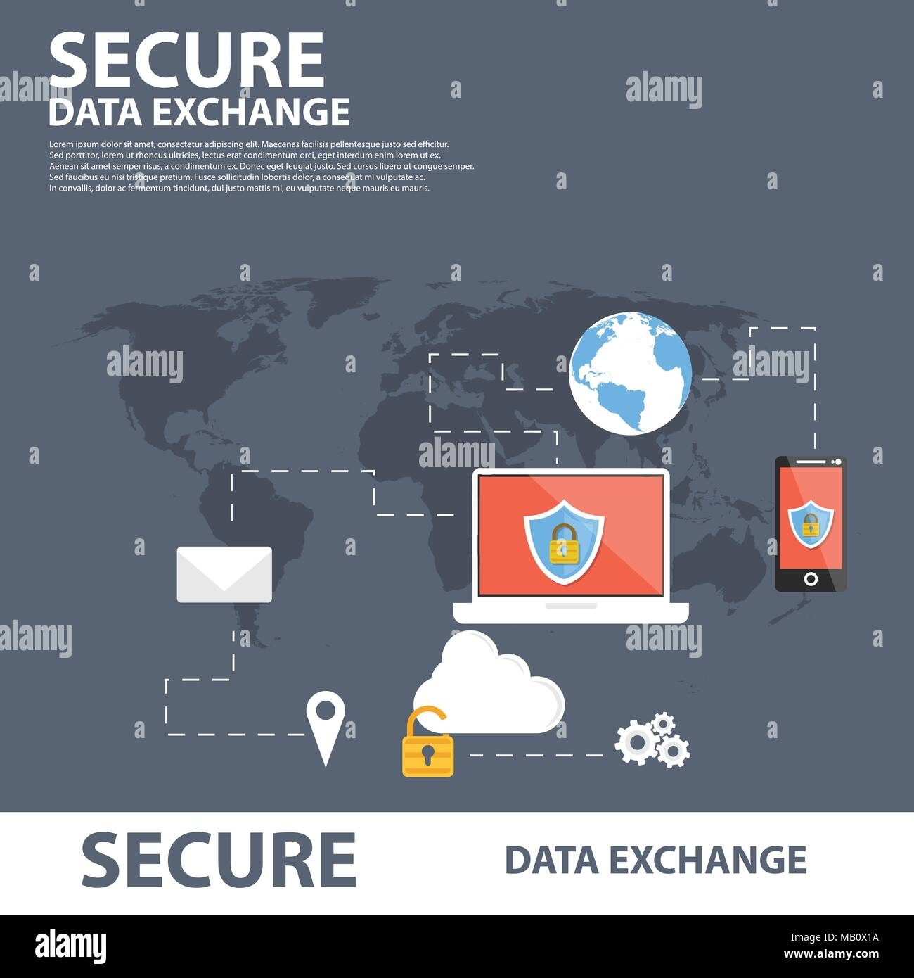 Secure Data Exchange Flat Icon Banner Concept - Stock Vector