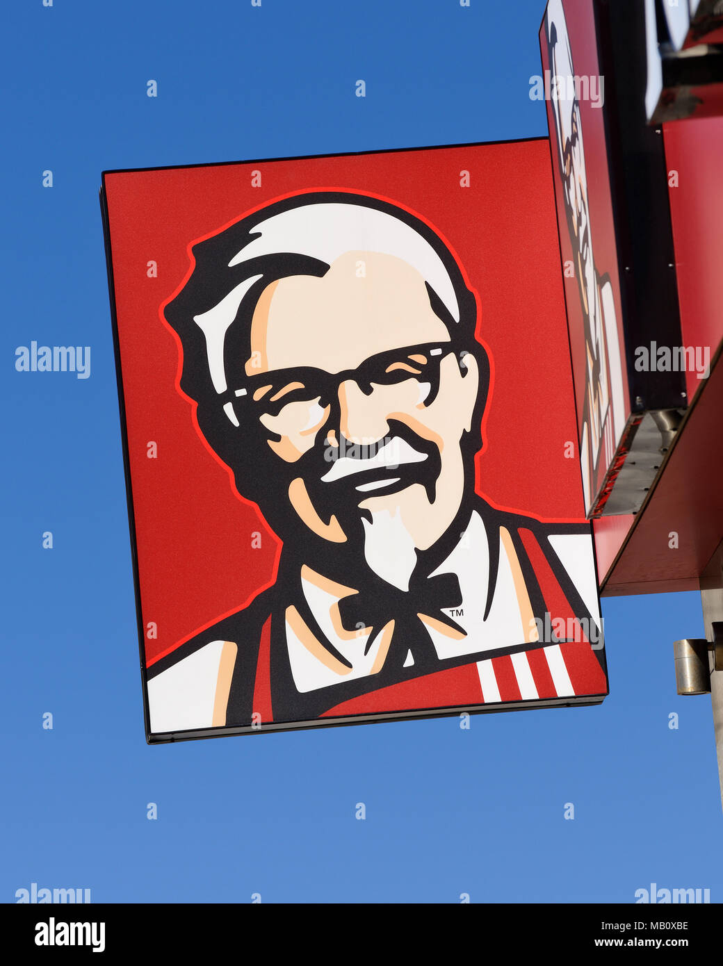 KFC Kentucky Fried Chicken Sign on one of it's Fast Food Restaurants, Belgrade, Serbia - Stock Image
