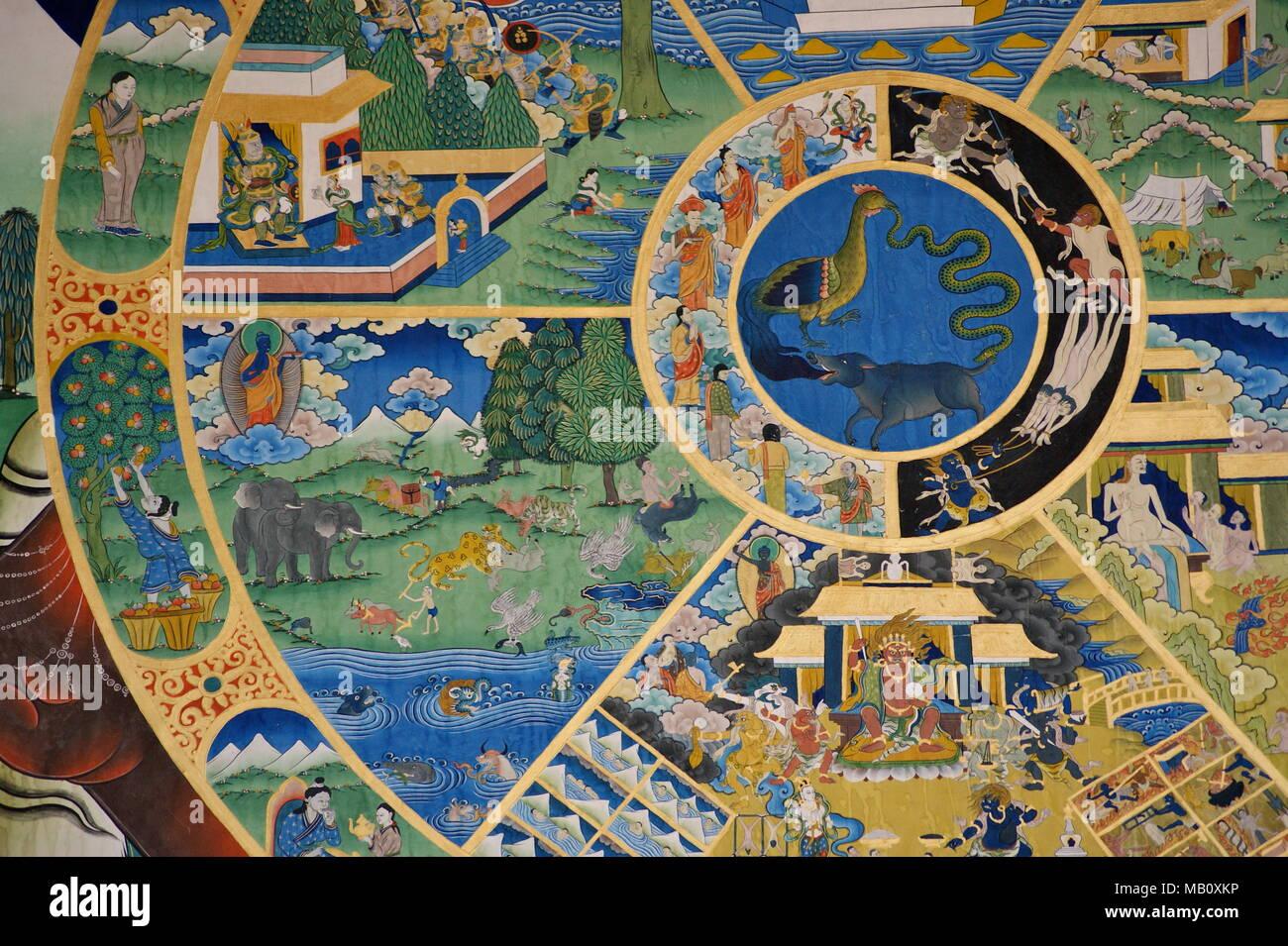 Punakha dzong mural in Bhutan - Stock Image