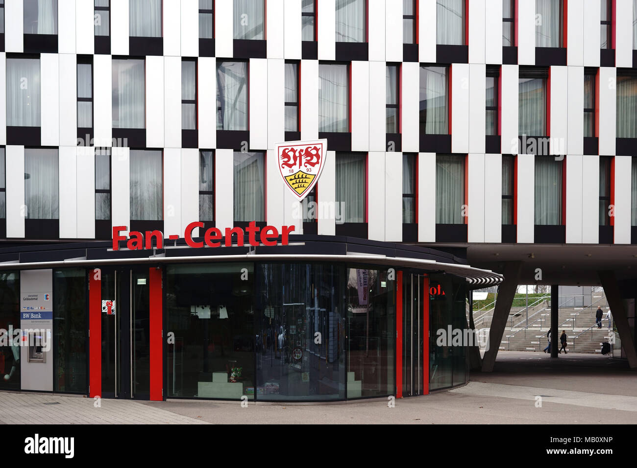 Stuttgart, Germany - February 03, 2018: The showcase of the fan center of the VFB Stuttgart at the Mercedes-Benz Arena with the club logo above the en Stock Photo