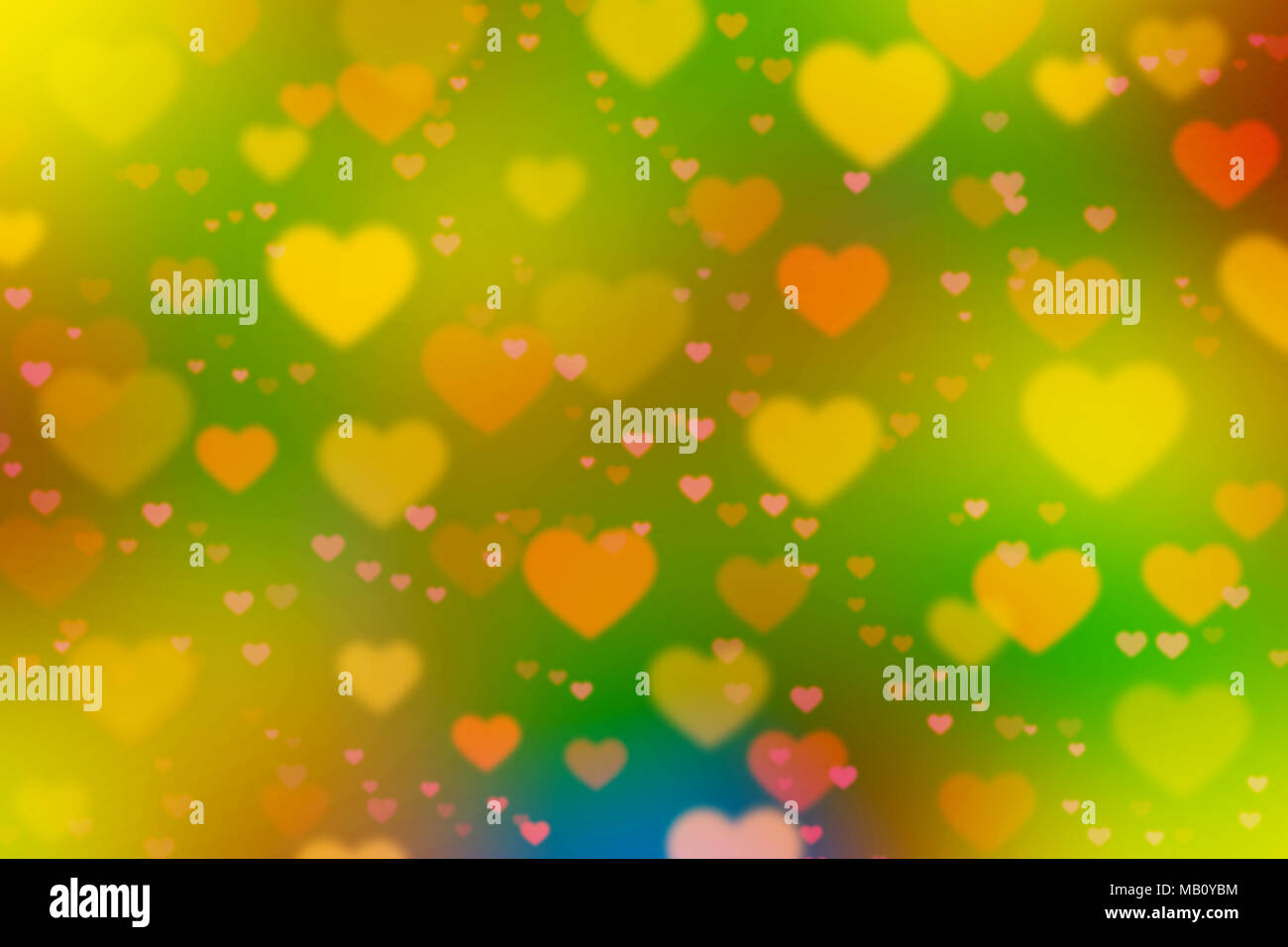 Blurred surface with bright color background and heart symbol image ...