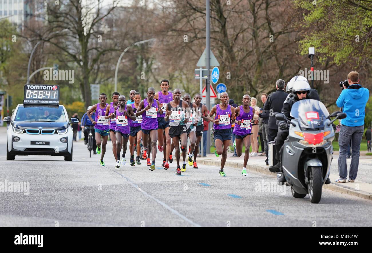 Top flight at the Hamburg-Marathon - Stock Image