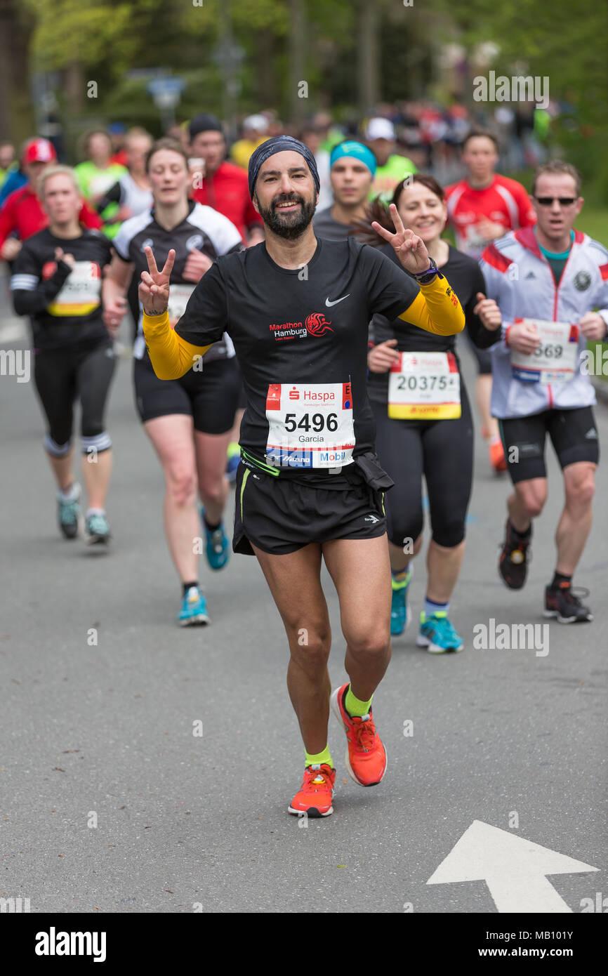 Runners at the Hamburg-Marathon - Stock Image